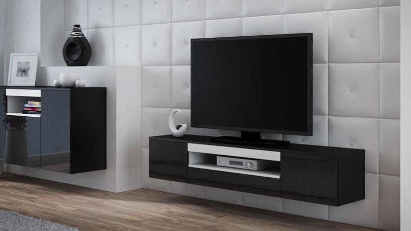 TV galds Cama Meble Viva 180, balta/melna, 1800x400x374 mm