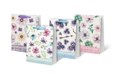 Dovanų maišelis su gėlėmis, 26x10x32 cm