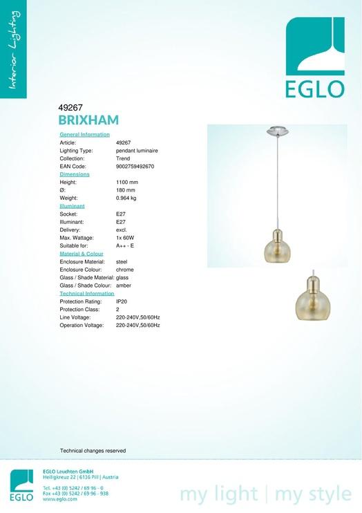 Eglo Brixham 49267 Amber