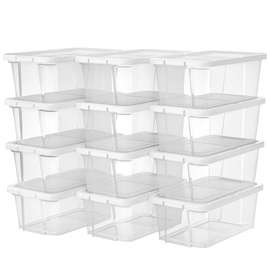 Songmics Shoe Box Plastic White 12pcs