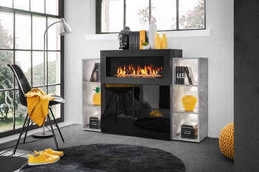 Komoda ASM Camino LED w/ Fireplace Black/Concrete, 90x40x102 cm