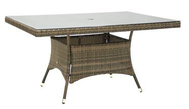 Home4you Wicker Table 150x100x74cm Cappuccino