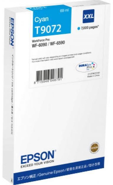 Rašalinio spausdintuvo kasetė Epson DURABrite Pro T9072 XXL Ink Cartridge Cyan