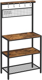 Кухонный шкаф Songmics Storage Shelf, коричневый/черный, 400 мм x 840 мм x 1700 мм