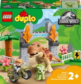 Konstruktors LEGO Duplo Jurrasic World T Rex And Triceratops Dinosaur Breakout 10939, 26 gab.