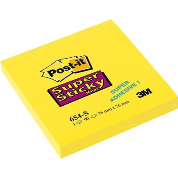 3M Post It 654-S Super Sticky Notes 90pcs Yellow