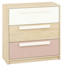 ML Meble Drop 10 Chest Of Drawers Beech/White/Pink