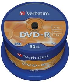 Verbatim DVD-R 16X 4.7GB 50P Matte Silver AZO Cake Box