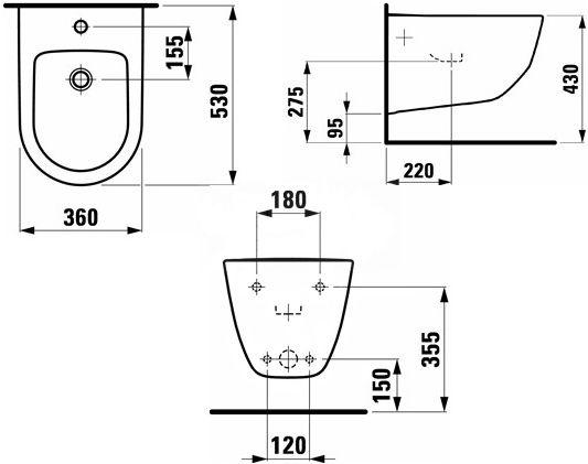 Биде Laufen Pro New, 360 мм x 530 мм x 430 мм, белый
