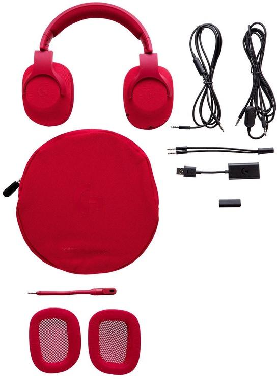 Žaidimų ausinės Logitech G433 Red
