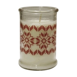 Svece stikla traukā ar apdruku, 80x115 mm