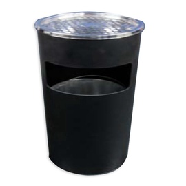 SN Round Outdoor Waste Bin With Ashtray 17l Black