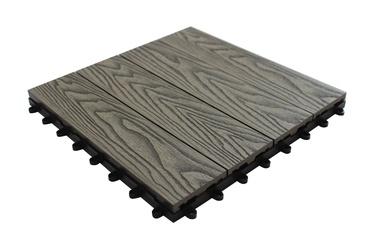 WPC terasų plytelė, 30x30x2.2 cm, pilka
