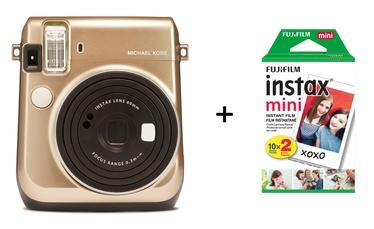Fujifilm Instax Mini 70 (Gold) Michael Kors limited edition + FUJIFILM Instax Mini Film (Glossy) (Color) 20