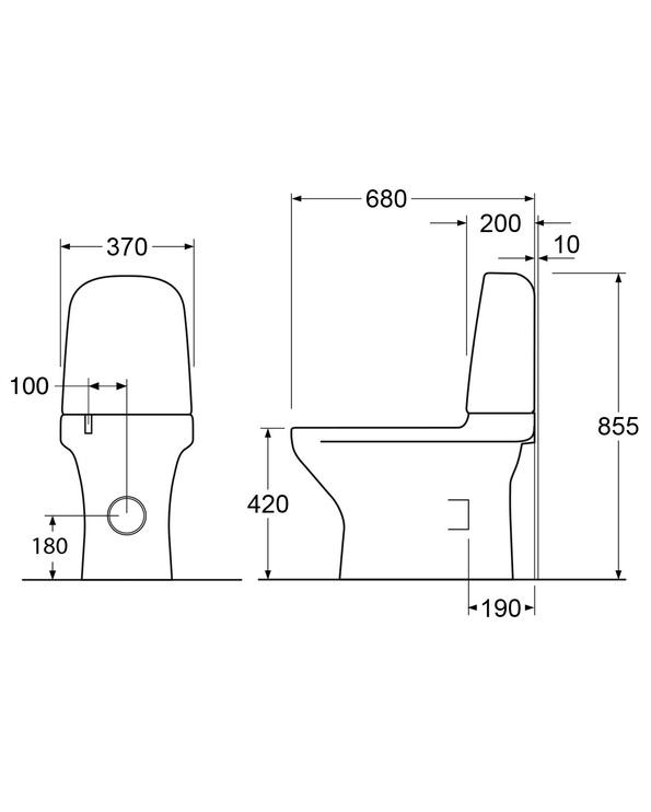 Tualete Gustavsberg Estetic 8300 GB1183002R1231, ar vāku, 370 mm x 680 mm