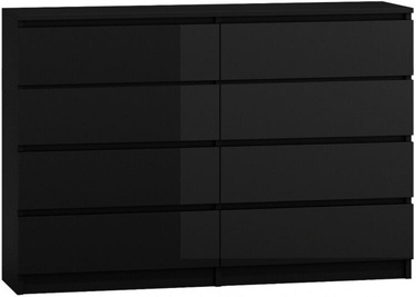 Top E Shop Malwa M8 Chest of 8 Drawers 140cm Gloss Black