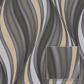 Обои Sintra Moonlight 500446, виниловые, золотой/серебристый/серый
