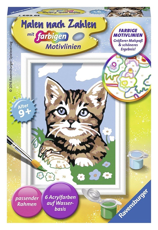 Ravensburger Painting By Numbers Faithful Kitten 296897