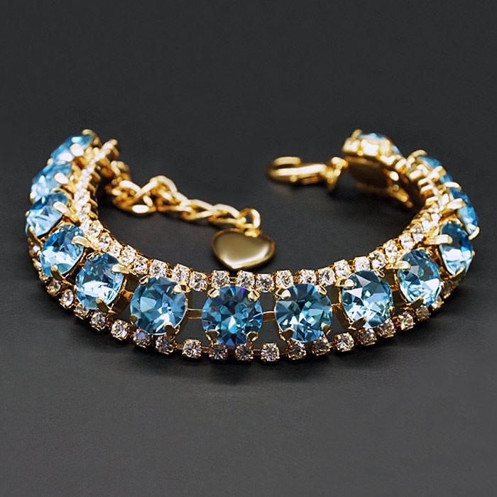 Diamond Sky Bracelet Crystal Shackle Aquamarine Blue With Crystals From Swarovski