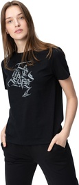 Audimas Womens Short Sleeve Tee Black Gray Printed L
