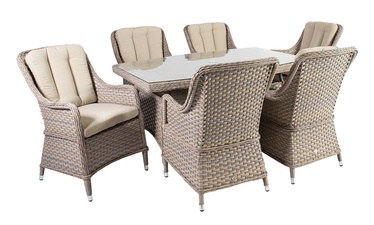 Home4you Eden Table And 6 Chairs Set Beige