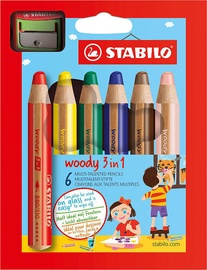 Stabilo Woody 3in1 Pencils 6pcs & Sharpener