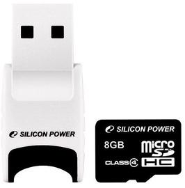 Mälukaart Silicon Power MicroSDHC + USB Reader, 8 GB