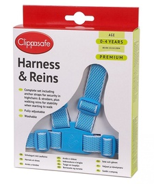 Clippasafe Easy Wash Harness With Reins & Anchor Straps 10 Blue