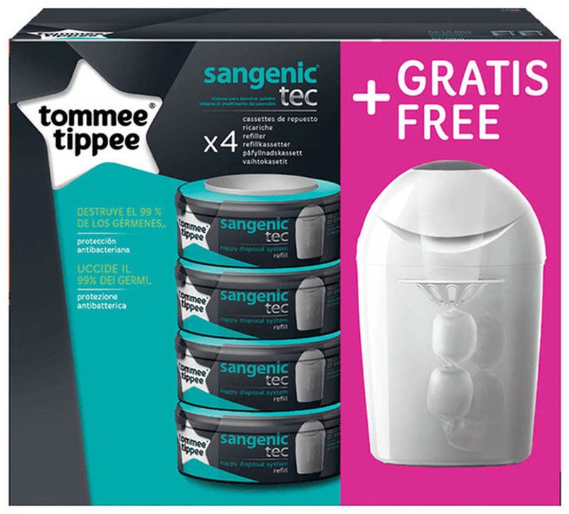 Tommee Tippee Sangenic Tec Nappy Disposal Tub White & 4 Refill Cassettes