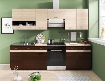 Кухонный гарнитур WIPMEB Livia, коричневый/дубовый, 2.4 м