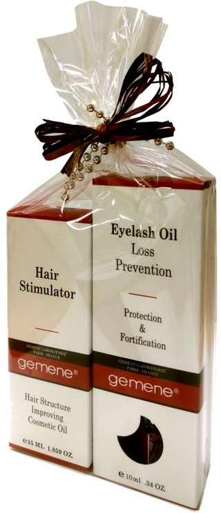 DNC Gift Set For Hair And Eyelash Care Gemene Growth Hair Stimulator 55ml + Eyelash Loss Prevanting Oil 10ml