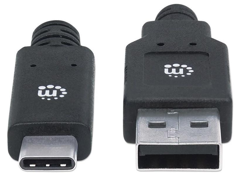 Manhattan USB To USB Type-C Black 2m