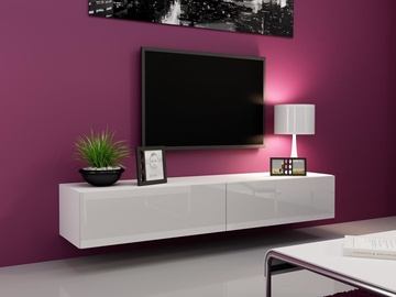 TV galds Cama Meble Vigo 180 White/White Gloss, 1800x300x400 mm