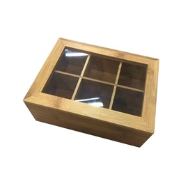 SN Perfetto Tea Box 6 Sections 21x16x7.5cm Brown