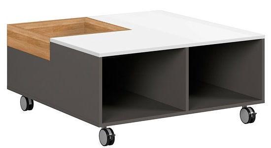 Kafijas galdiņš Black Red White Graphic, balta/pelēka/ozola, 905x900x420 mm