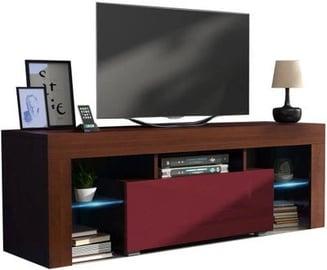 TV staliukas Pro Meble Milano 130 With Light Walnut/Red, 1300x350x450 mm