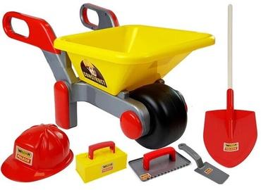 Набор игрушек для песочницы Polesie Wheelbarrow With Accessories, красный/желтый