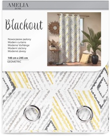 AmeliaHome Blackout Geometric Curtains Grey 140x245