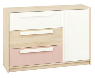 ML Meble Drop 08 Chest Of Drawers Beech/White/Pink