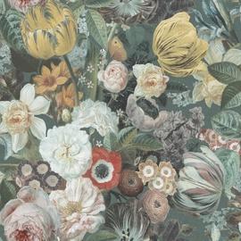 Flizelino pagrindo tapetas, Ecodeco, EP1001, žalios gėlės