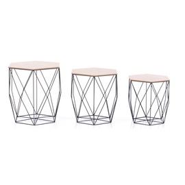 Kafijas galdiņš Homede Asteria Set Of 3, brūna/melna, 450x380x440 mm