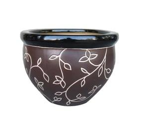 Вазон SN Ceramic Pot IP13-054 Ø30cm Brown/Leaf Ornament