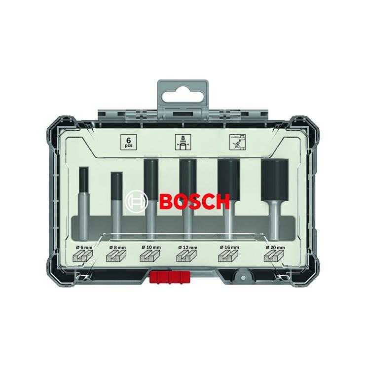 Frezų komplektas Bosch Straight, 6 dalių, 8 mm