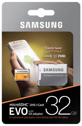Samsung EVO (2017 Model) 32GB microSDHC UHS-I Class 10 + Adapter
