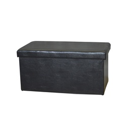 Pufas su daiktadėže, juodas, 76,5 x 40,5 x 40,5 cm