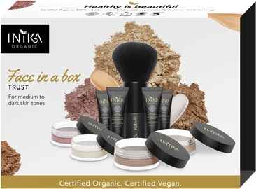 Inika Face In Box Starter Kit Trust Organic Mineral Powder 3g + Liquid Foundation 10ml + Bronzer 3.5g + Primer 10ml + Concealer 4ml + Setting Powder 0.7g + Blush 0.7g + Kabuki Brush + Makeup Bag