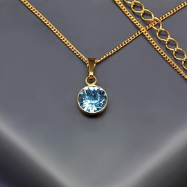Diamond Sky Pendant Classic Aquamarine Blue With Swarovski Crystals