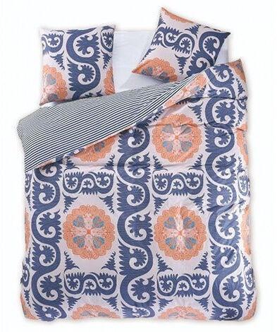 Gultas veļas komplekts DecoKing Diamond, zila/balta/oranža, 200x220/80x80 cm