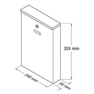 Pašto dėžutė Glori Ir Ko PD955 Dark Gray, 240x55x355 mm