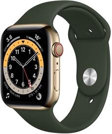 Išmanusis laikrodis Apple Watch Series 6 GPS LTE + Cellular, 44mm Stainless Steel Cyprus Green Sport Band, aukso